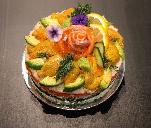 King Salmon Urchin Cake